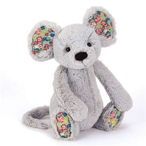 jellycat blsmn blossom grey mouse small  organza pull