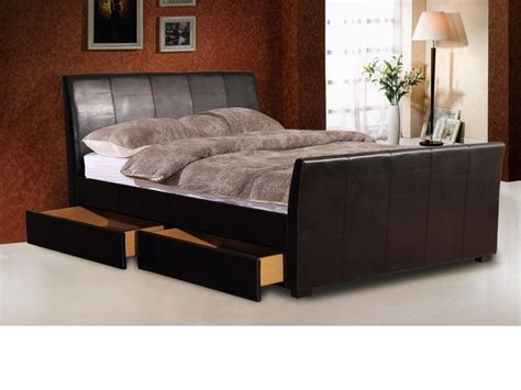 Leather Beds With Storage Drawers brown faux leather bed with 2 storage drawers homegenies