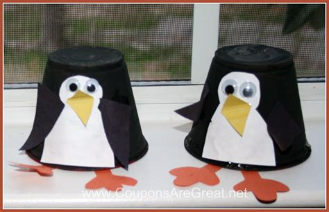 penguin crafts plastic cup penguin craft for