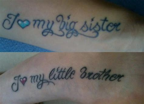 small brother and sister tattoos and sibling but do it in each other