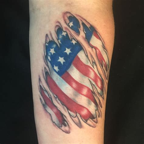 american flag ripped skin tattoo finally got to do a flag ripped skin usually don t