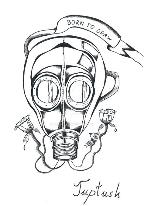 outline tattoo designs gas mask drawing www pixshark images