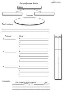 Comparison Graphic Organizer Template by Comparison Contrast Essay Outline Worksheet Teaching Esl