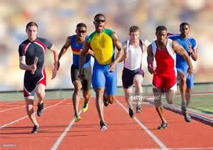 Race On six athletes running on race track stock photo getty images