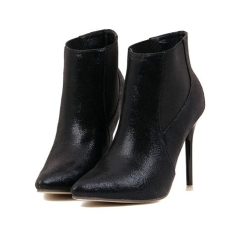 black high heel stiletto chelsea ankle boots