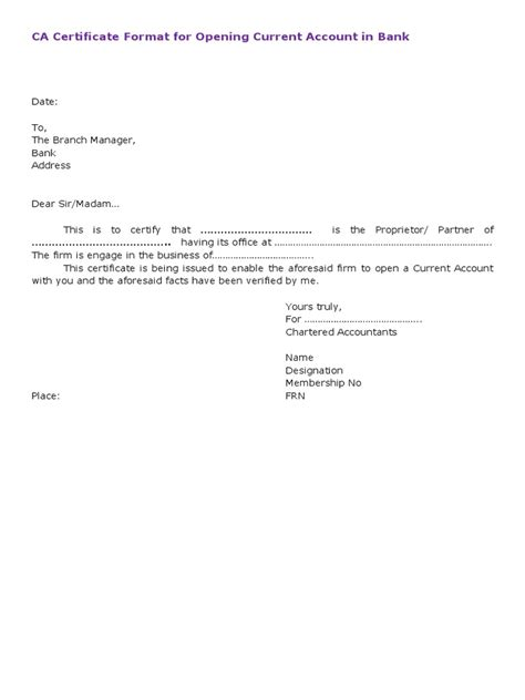 current bank certification letter for canada ca certificate format for current account opening