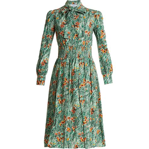 Dress Poppi Green prada green poppy print silk crepe dress kate middleton dresses kate s closet