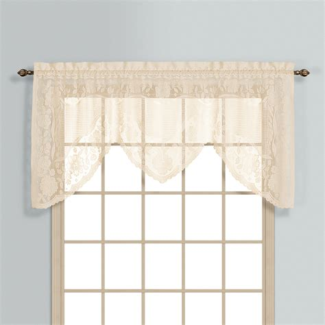 windsor lace curtains windsor lace swagger valance natural linens4less com