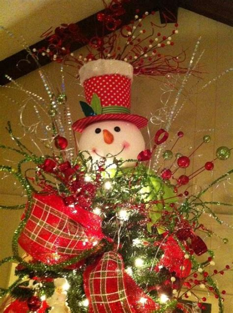 frosty snowman christmas tree ideas snowman tree toppers