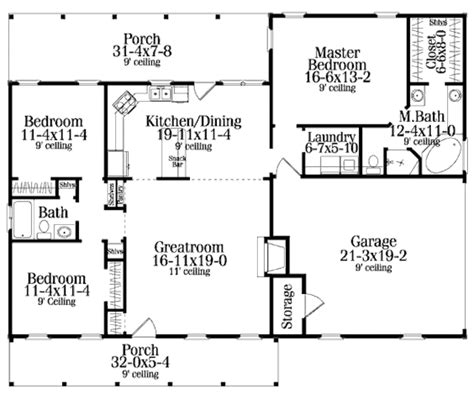 floor plans com colonial style house plan 3 beds 2 baths 1492 sq ft plan