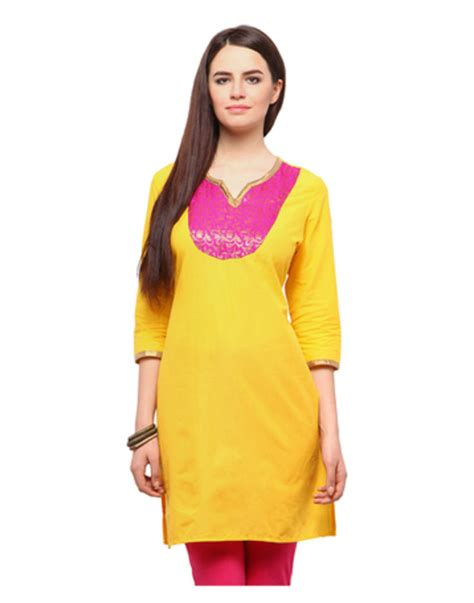 yellow kurti pattern buy yellow solid cotton kurtis online