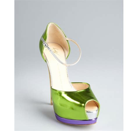 Nine Wests Jojus Apple Green Dorsay Peep Toes by Giuseppe Zanotti Lime Yellow And Purple Mirrored Leather
