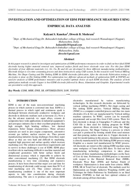 1 an empirical approach for optimization of acoustic investigation and optimization of edm performance measures