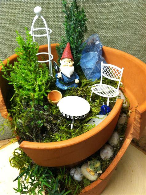 Pot Garden by Broken Pot Garden Home For A Gnome The Garden Diaries