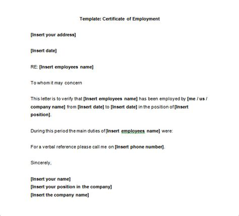 Template Certificate Of Employment employment certificate 39 free word pdf documents