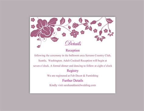 enclosure card template microsoft word diy wedding details card template editable word file