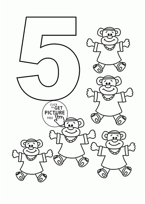 number 5 coloring pages for kids counting sheets