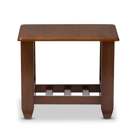 Cherry Wood End Tables Living Room Baxton Studio Larissa Modern Classic Mission Style Cherry Finished Brown Wood Living Room