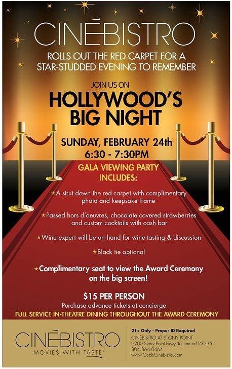 Party Floor Plan Cinebistro S Oscar Party Tv Richmond Com