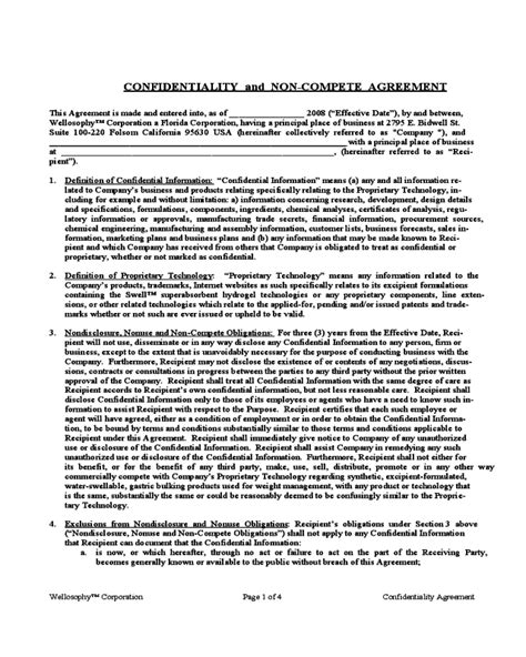 confidentiality and non compete agreement template 2019 non compete agreement template fillable printable