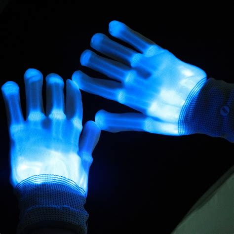 led light up gloves 1pair led gloves luminous skeleton fiber gloves for