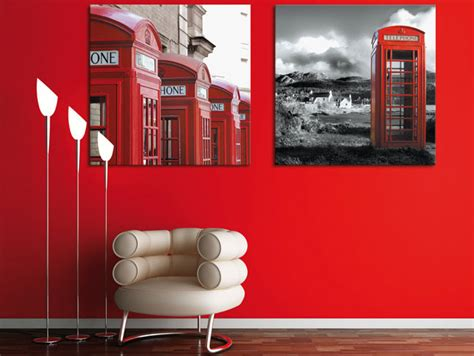 interior design red walls telephone box poster in red wall interior design