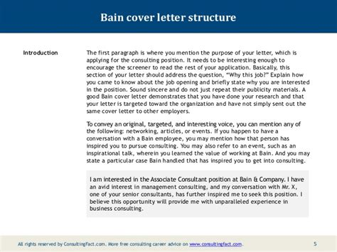 boston consulting cover letter bain cover letter sle