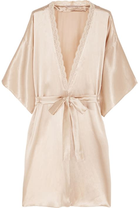 silk robe stella mccartney clara whispering lace trimmed silk robe