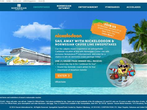 Cruise Sweepstakes 2014 - sail away with nickelodeon norwegian cruise line