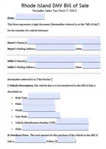 free rhode island dmv vehicle bill of sale form pdf