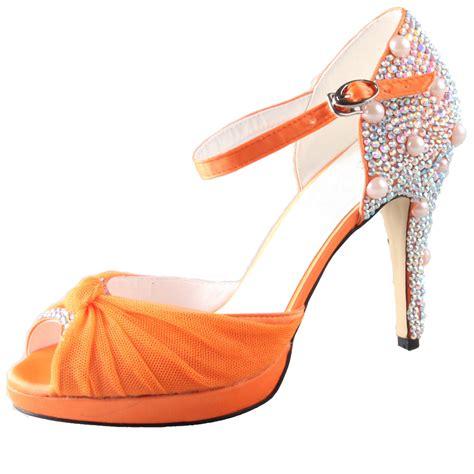 handmade light orange yellow rhinestone wedding shoes