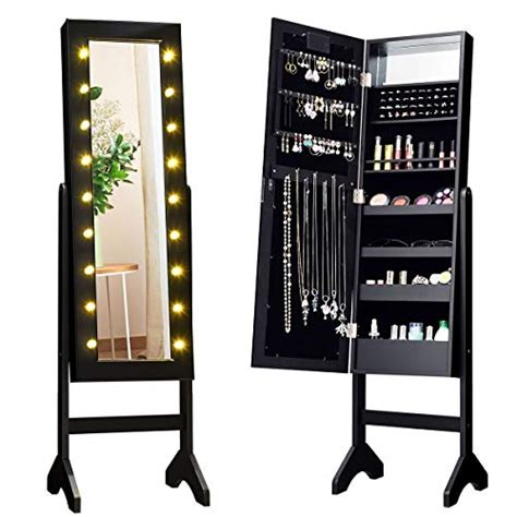giantex standing jewelry armoire   led lights