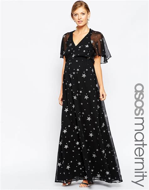 Cleverly 2 Maxi asos flutter sleeve maxi dress in print in black lyst