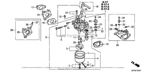 honda engines gxut qae engine tha vin gcbct  parts diagram  carburetor