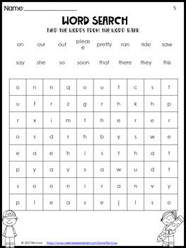 Pre-Primer and Primer Sight Word Searches by Ms Crow | TpT