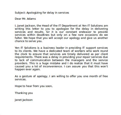 Customer Service Letter Of Apology Sle business apology letter 7 free documents in
