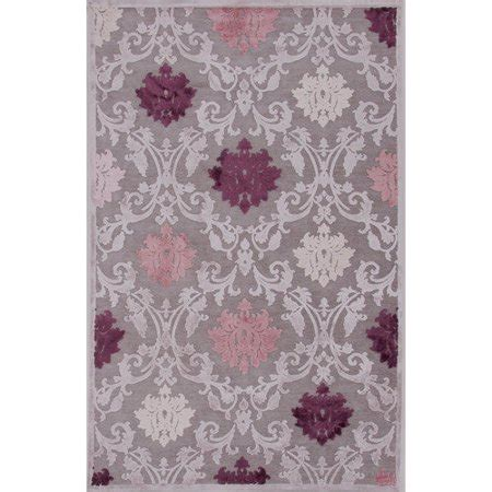 purple area rug 5x7 contemporary damask pattern gray purple rayon and chenille