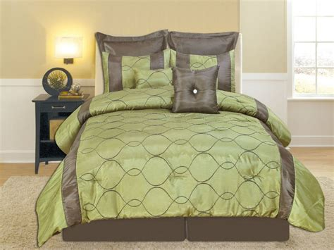 green bed brown and green comforter set casual style design