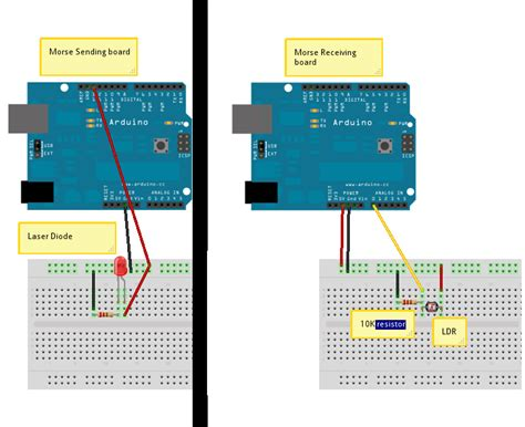 laser diode arduino schematic midas touch arduino morse code sender receiver pair using lasers