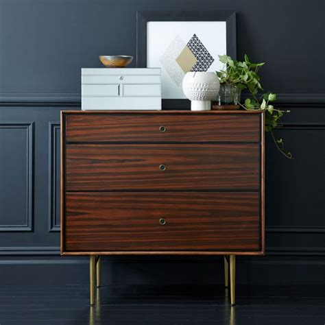 modern 3 drawer dresser west elm heston mid century 3 drawer dresser rosewood west elm
