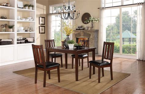 5 pc homelegace beaumont dining mosely 5103 dining set 5pc in brown cherry by homelegance