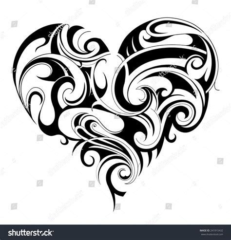 heart tattoos vector heart shape tattoo ornament stock vector illustration