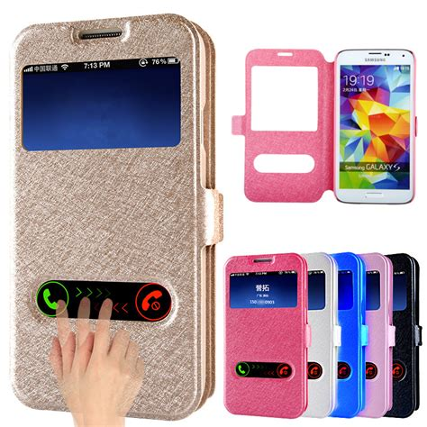Casing A3 A5 J 1ace J2 J3 J7 leather dual view window stand flip for samsung