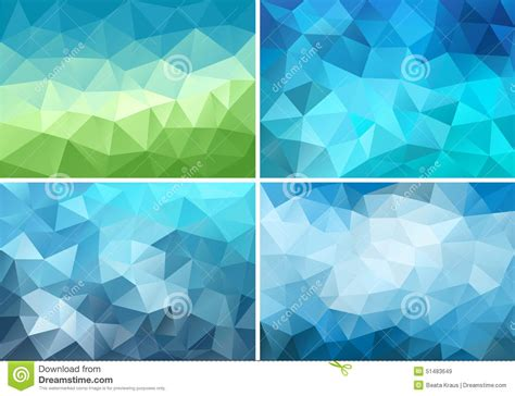 Set Blue Abstrak abstract blue and green low poly background vector