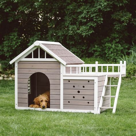 dog house with deck on top boomer george beacon dog house with sunning side deck jet com