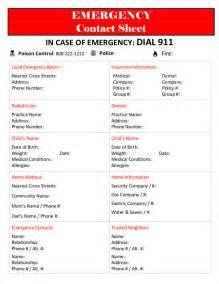 Emergency Phone Number List Template The Lovebug Blog