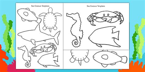 at sea template cut out sea creature templates under the sea creatures
