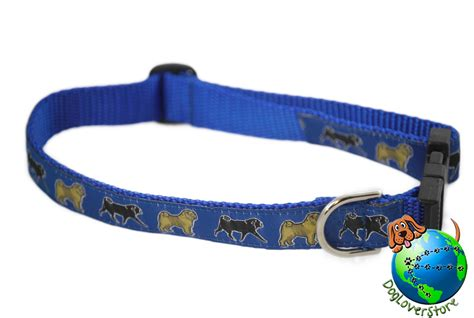 pug collars pug breed adjustable collar medium 11 19 blue ebay