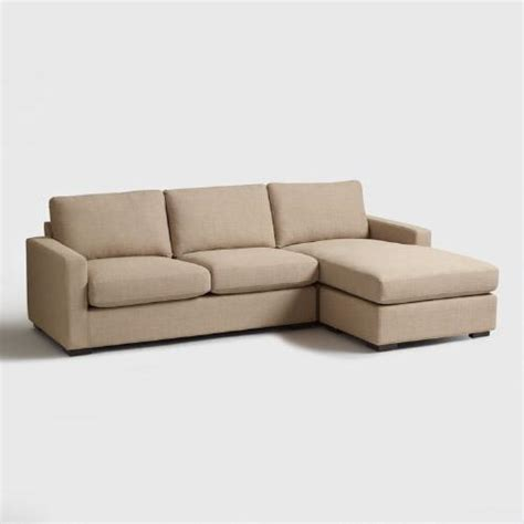 Woven Sofa by Taupe Woven Upholstered Burnett Sofa And Chaise World Market