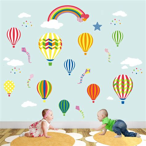 rainbow wall stickers uk air balloon rainbow nursery wall stickers